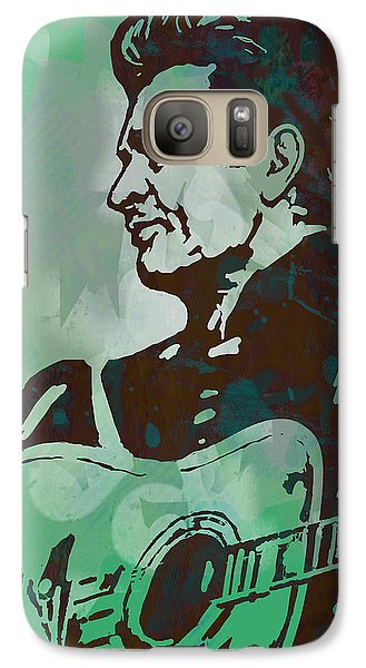 Johnny Cash - Stylised Etching Pop Art Poster Galaxy S7 Case by Kim Wang