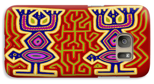 Galaxy Case featuring the digital art Kuna Bird Spirits by Vagabond Folk Art - Virginia Vivier