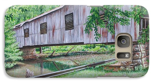 Galaxy Case featuring the painting Kymulga Covered Bridge by Mike Ivey