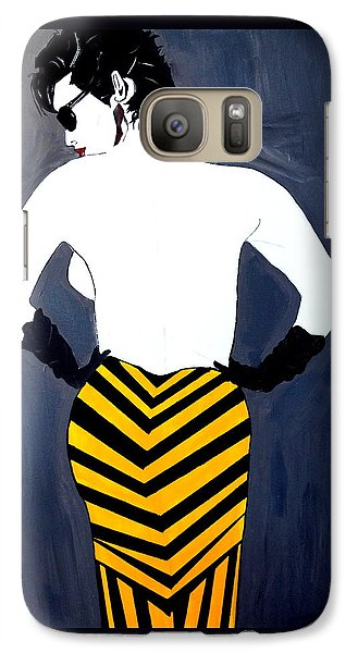 Galaxy Case featuring the painting Lady In Stripes by Nora Shepley