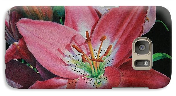 Galaxy Case featuring the painting Lily's Garden by Pamela Clements