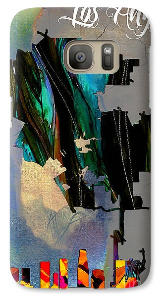 Los Angeles Map And Skyline Galaxy Case by Marvin Blaine