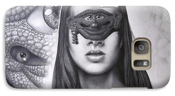 Galaxy Case featuring the drawing Masked Beauty by Geni Gorani