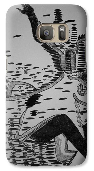 Galaxy Case featuring the drawing Mbakumba Dance - Zimbabwe by Gloria Ssali