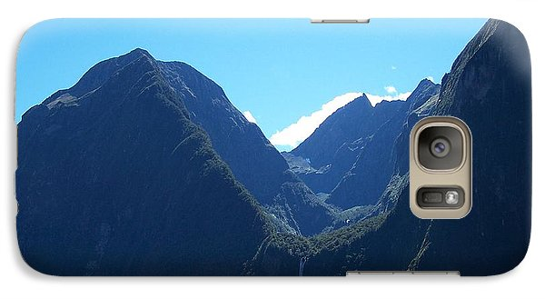 Galaxy Case featuring the photograph Milford Sound Waterfall II by Constance Drescher