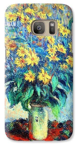 Galaxy Case featuring the photograph Monet's Jerusalem  Artichoke Flowers by Cora Wandel