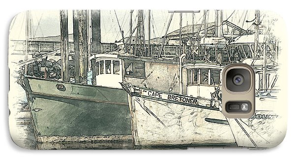 Galaxy Case featuring the digital art Moored Fishing Boats by Richard Farrington