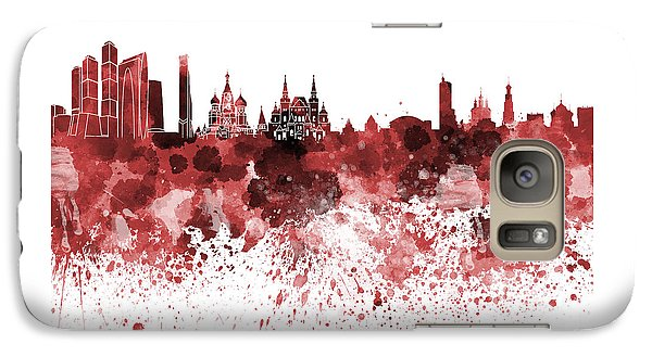 Moscow Skyline White Background Galaxy Case by Pablo Romero