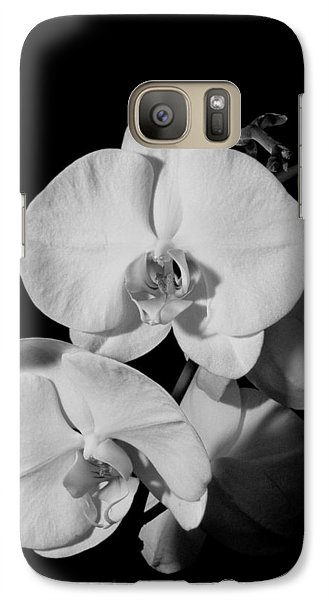 Galaxy Case featuring the photograph Moth Orchid Bw by Ron White