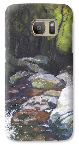 Galaxy Case featuring the pastel Mountain Stream At Dusk by Robert Decker
