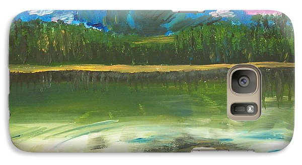 Galaxy Case featuring the painting ptg. Mountain View by Judy Via-Wolff
