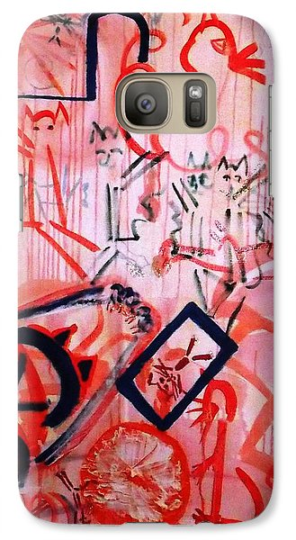 Galaxy Case featuring the painting Multi-cat II by Leslie Byrne