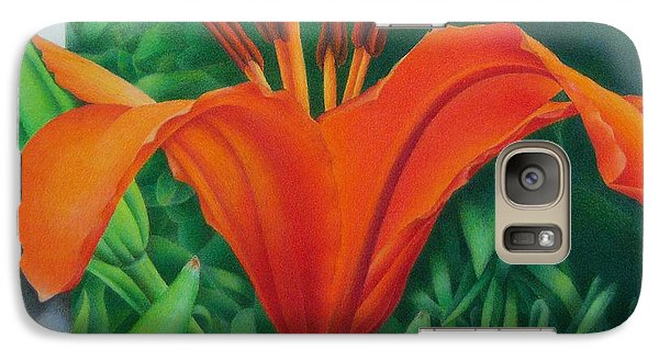 Galaxy Case featuring the painting Orange Lily by Pamela Clements