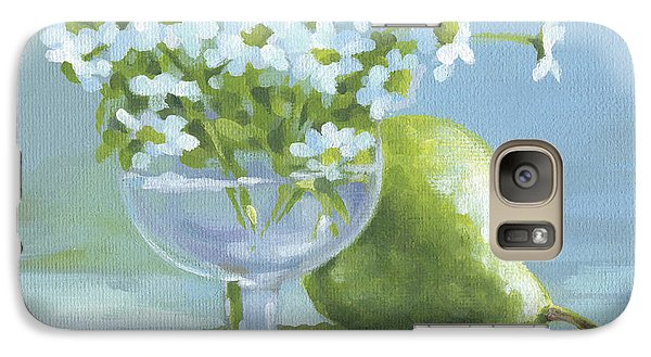Galaxy Case featuring the painting Pear And Daisies by Natasha Denger