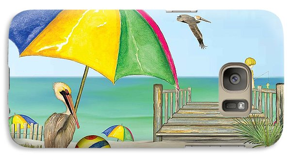 Galaxy Case featuring the painting Pelican Under Umbrella by Anne Beverley-Stamps