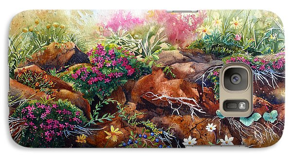 Galaxy Case featuring the painting Phlox On The Rocks by Karen Mattson