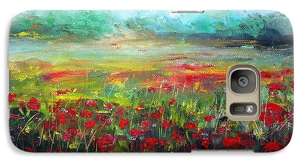 Galaxy Case featuring the painting Poppy Fields by Vesna Martinjak