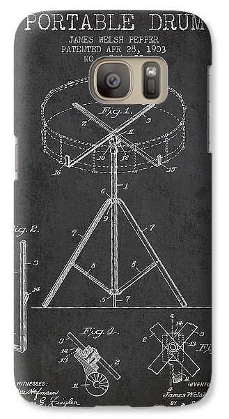 Drum Galaxy S7 Case - Portable Drum Patent Drawing From 1903 - Dark by Aged Pixel