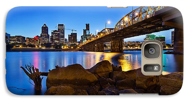 Galaxy Case featuring the photograph Portland Oregon Skyline At Blue Hour by JPLDesigns