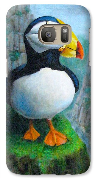 Galaxy Case featuring the painting Portrait Of A Puffin by Oz Freedgood