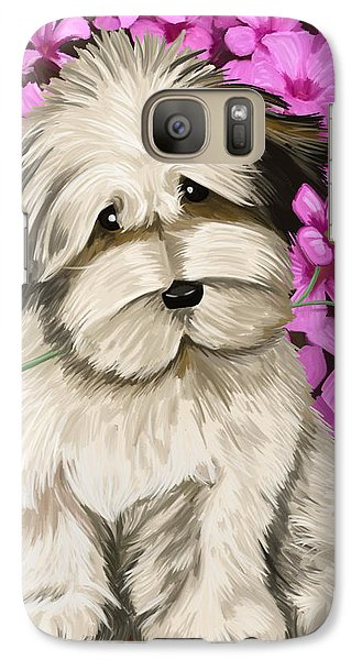 Galaxy Case featuring the painting Puppy In The Flowers by Tim Gilliland