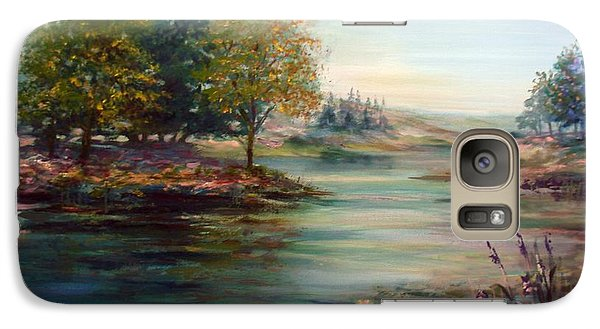 Galaxy Case featuring the painting Quiet Day On The Lake by Laila Awad Jamaleldin