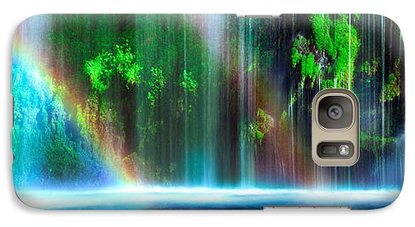 Rainbow Formed In Front Of A Waterfall Galaxy Case by Panoramic Images