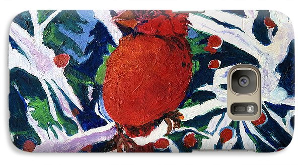 Galaxy Case featuring the painting Red Bird by Julie Todd-Cundiff