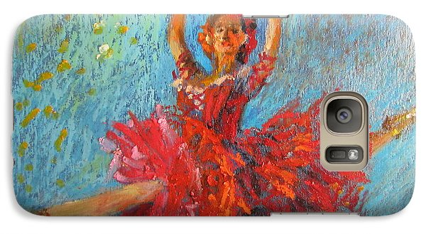 Galaxy Case featuring the painting Red Fan by Jieming Wang