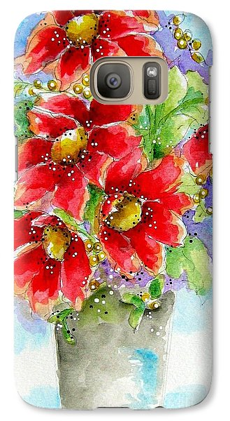 Galaxy Case featuring the painting Red Flowers by Patrice Torrillo