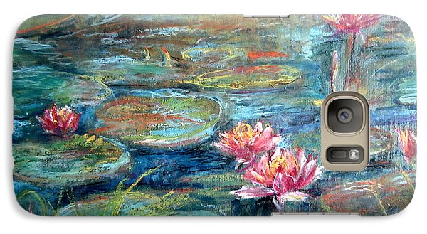 Galaxy Case featuring the painting Red Waterlily by Jieming Wang
