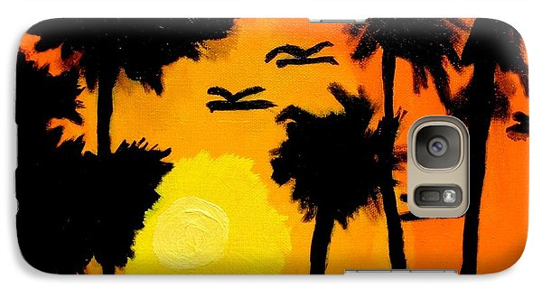 Galaxy Case featuring the painting Rising Glow At Sunset by Artists With Autism Inc