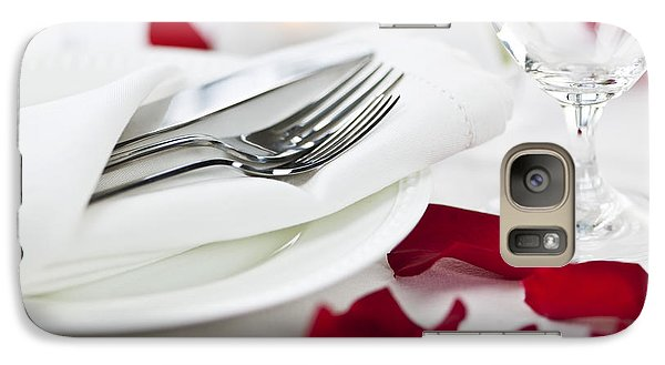 Rose Galaxy S7 Case - Romantic Dinner Setting With Rose Petals by Elena Elisseeva