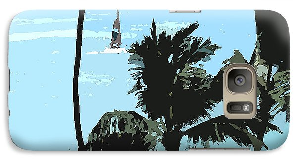Galaxy Case featuring the digital art Sailboat And Luscious Palms by Karen Nicholson