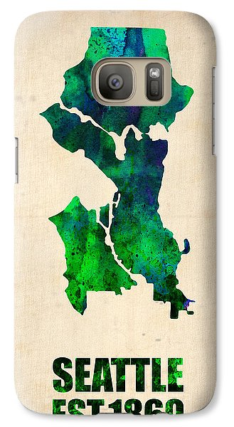 Seattle Watercolor Map Galaxy Case by Naxart Studio