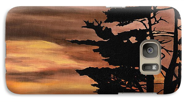 Galaxy Case featuring the painting Silhouette Sunset by Mary Ellen Anderson