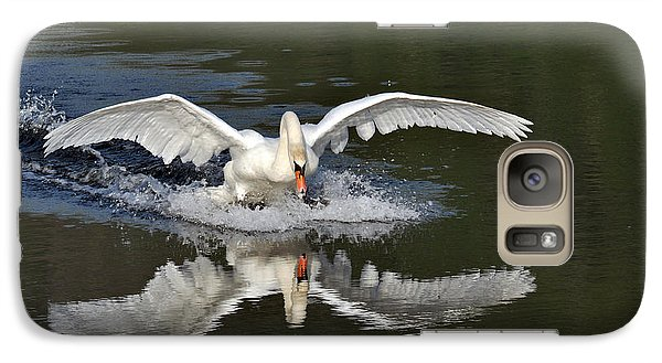 Galaxy Case featuring the photograph Swan Landing by Simona Ghidini
