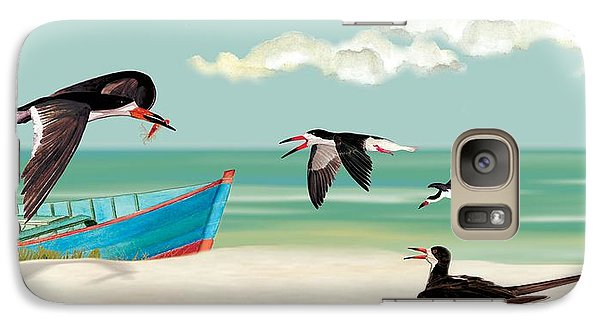 Galaxy Case featuring the painting The Skimmers Of Margaritaville by Anne Beverley-Stamps