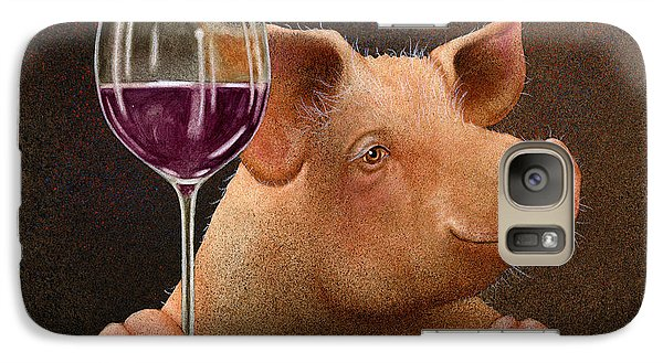 Galaxy Case featuring the painting This Little Piggy Went Wine Tasting... by Will Bullas