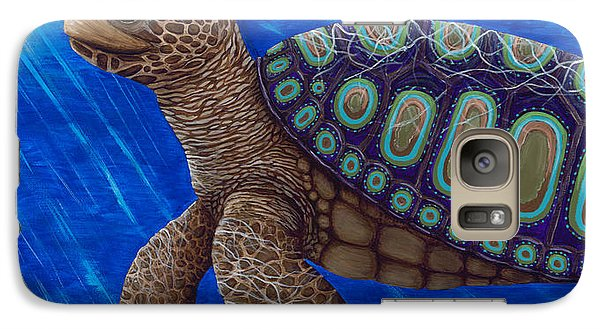Galaxy Case featuring the painting Turtle Painting Bomber Triptych 2 by Rebecca Parker