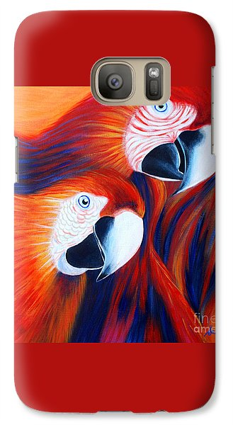 Galaxy Case featuring the painting Two Parrots. Inspirations Collection. by Oksana Semenchenko