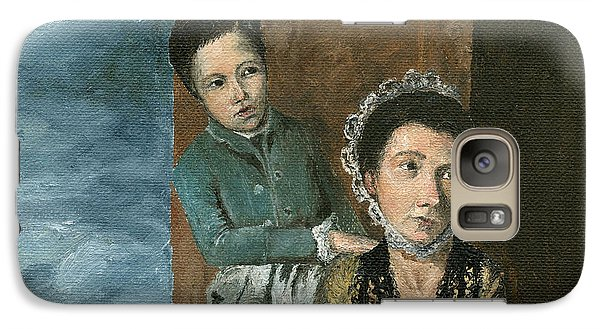 Galaxy Case featuring the painting Vintage Mother And Son by Mary Ellen Anderson