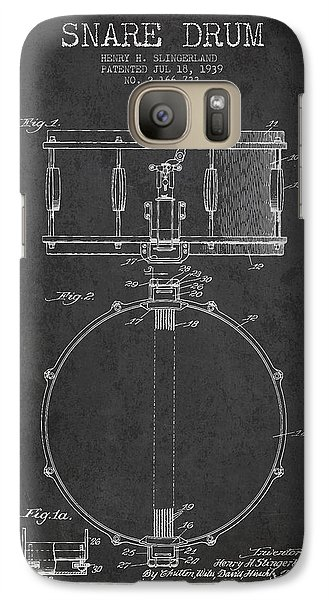 Drum Galaxy S7 Case - Snare Drum Patent Drawing From 1939 - Dark by Aged Pixel