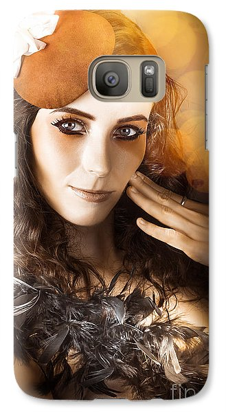 Vintage Style Actress Performing In French Beret Galaxy S7 Case by Jorgo Photography - Wall Art Gallery