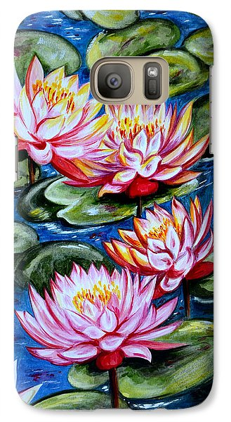 Galaxy Case featuring the painting Water Lilies by Harsh Malik