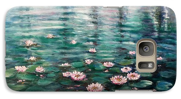 Galaxy Case featuring the painting Water Lilies by Laila Awad Jamaleldin