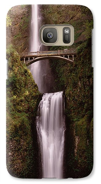 Waterfall In A Forest, Multnomah Falls Galaxy Case by Panoramic Images