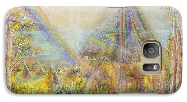 Galaxy Case featuring the painting White Buffalo 12 by Cathy Long