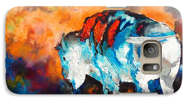 Galaxy Case featuring the painting White Buffalo Ghost by Karen Kennedy Chatham