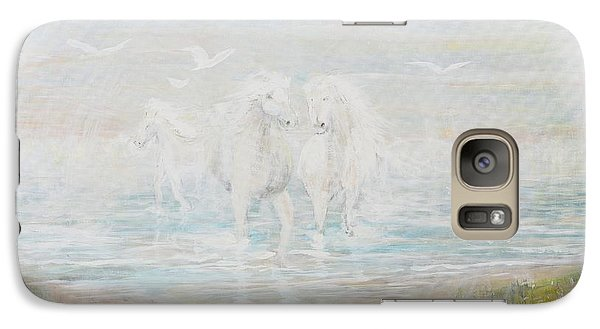 Galaxy Case featuring the painting White Horses by Cathy Long